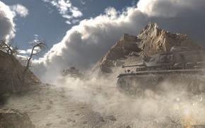 Картинка горы, пустыня, танки, Africa korps