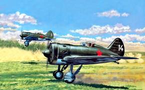 Картинка рисунок, И-16, истребитель-моноплан, поршневой, CCCР, Soviet Air Force, Лётчик, звездообразный двигатель, М-62 (АШ-62)