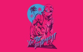 Картинка Игра, Фон, Miami, Байкер, Hotline Miami, Synthpop, Biker, Darkwave, Synth, Retrowave, Synthwave, Hotline