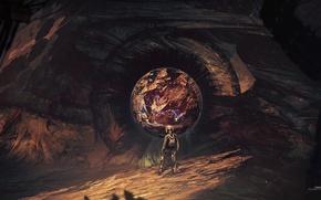 Картинка скала, камни, шар, космонавт, visions