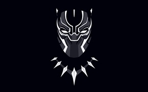 Картинка фон, ожерелье, маска, чёрный фон, комикс, Marvel Comics, чёрная пантера, Black Panther