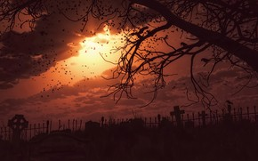 Обои небо, солнце, закат, ветки, дерево, мрак, dark, кладбище, вороны, мрачность, terror