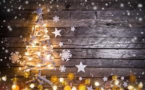 Обои winter, snow, merry christmas, christmas tree, decoration