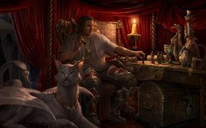 Картинка стол, мужик, свеча, существо, сундук, статуэтки, Strategy