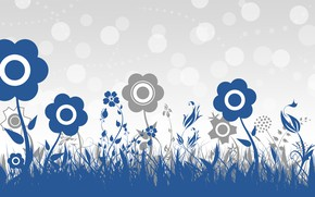 Картинка цветы, синий, серый, фон, обои, вектор, текстура