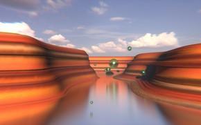 Картинка ландшафт, каньон, полёт, сферы, blender3d, примитив