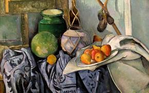 Картинка лимон, яблоки, арбуз, кувшин, Paul Cezanne
