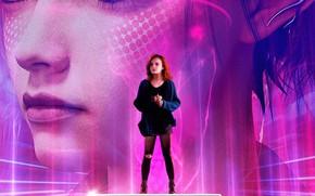 Картинка девушка, лицо, фон, фантастика, рыжая, постер, Olivia Cooke, Оливия Кук, Ready Player One, Первому игроку …