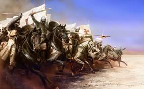 Картинка оружие, атака, лошадь, доспехи, флаг, тамплиер, Рыцарь