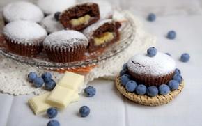 Картинка ягоды, шоколад, кексы, голубика