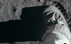 Обои Луна, Базз Олдрин, лунный грунт, отпечаток, Аполлон-11, астронавт, ботинок, США