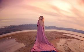 Картинка песок, вода, девушка, спина, платье, тату, Lichon, Lost Sky