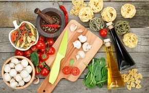 Обои макароны, грибы, овощи, доска, масло, нож, помидоры