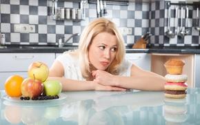 Картинка Woman, diet, healthy food, temptations