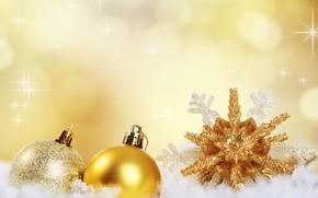 Картинка снег, золото, праздник, шары, новый год, снежинка