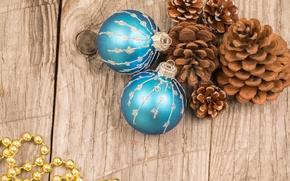 Картинка шарики, шары, доски, Новый Год, Рождество, balls, шишки, merry christmas, decoration, xmas, holiday celebration