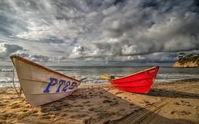 Картинка песок, море, пляж, небо, солнце, облака, тучи, побережье, лодки, горизонт, Калифорния, США