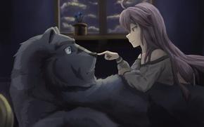 Картинка bear, anime, night, asian, manga, witch, japanese, oriental, asiatic, kuma, mahou, silver fox, Zero kara …