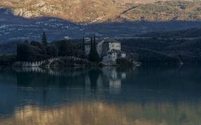 Картинка озеро, замок, Италия, Тоблино