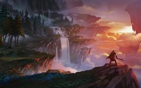 Обои rocks, river, fantasy landscape, sunset, sword, twilight, trees, weapon, sky, fantasy, man, artwork, clouds, forest, ...