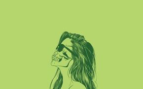 Картинка skull, woman, silhouette, Glasses
