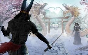 Картинка снег, самураи, Joseph Diaz, Snow Ronin