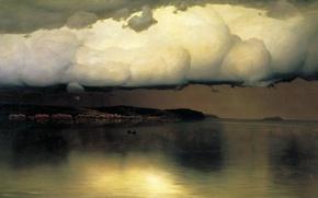 Картинка море, пасмурно, лодка, масло, облако, Холст, 1890, Николай ДУБОВСКОЙ, Притихло