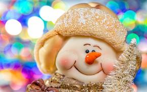 Картинка макро, праздник, игрушка, снеговик