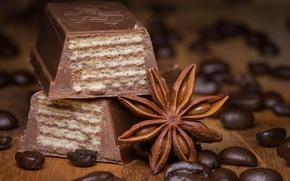 Обои кофе, шоколад, корица, вафли