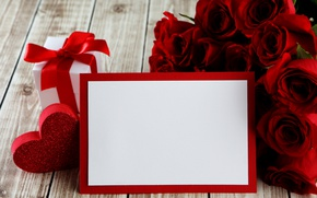 Обои красные розы, heart, love, valentine`s day, roses, romantic, gift, red