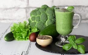 Картинка напиток, овощи, фреш, авокадо, базилик, смузи