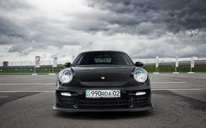 Обои 911, Porsche, Front, Black, Almaty