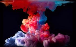 Обои поверхность, абстракция, размытость, черный фон, краски в воде