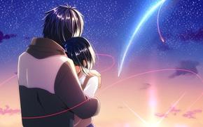 Картинка девушка, романтика, аниме, арт, парень, камета, Таки, tachibana taki, miyamizu mitsuha, Kimi no Na wa, …