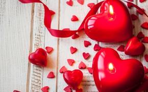Картинка ленты, свечи, red, love, romantic, hearts, valentine`s day