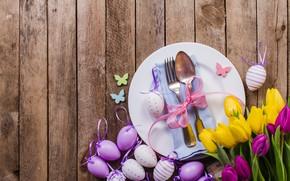 Картинка цветы, яйца, весна, желтые, colorful, Пасха, тюльпаны, flowers, tulips, spring, Easter, purple, eggs, decoration, Happy