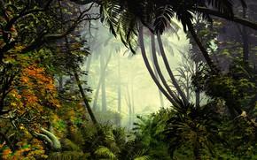 Картинка лес, растительность, водоём, смешанный, Exciting Jungle