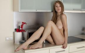 Обои модель, голая, кухня, на столе, нагая, Viola O, Viola Bailey