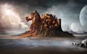 Обои лошадь, гроза, замок, люди, пустыня, автомобиль, горы, молния, конь, голова