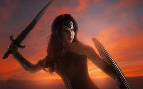 Обои strong, Diana, cosplay, shield, blade, DC Comics, cinema, warrior, gauntlet, film, armor, sky, brunette, Themyscira, ...