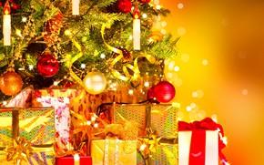 Картинка шары, игрушки, ель, подарки