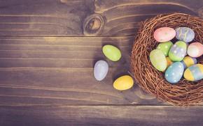 Картинка пасха, Яйца, гнездо, Праздник, деревянный фон