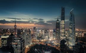 Картинка город, огни, вечер, Китай, Шанхай, КНР