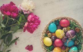 Картинка цветы, яйца, пасха, пионы, крашенки