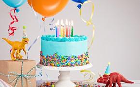 Обои свечи, Динозавр, Праздник, Торт, День рождение
