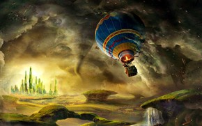 Картинка воздушный шар, James Franco, башни, обломки, Oz The Great And Powerful, смерч, надежда, полет, приключения, ...