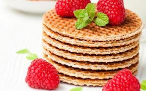 Картинка ягоды, малина, мята, вафли, выпечка, сладкое, raspberry, foliage, bakery