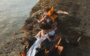 Картинка бабочки, мужчина, борода, сорочка, remnants of you