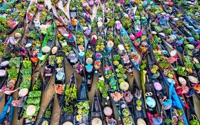Обои женщины, вода, река, люди, лодки, фрукты, рынок