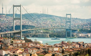 Картинка мост, река, движение, транспорт, корабль, дома, лодки, Стамбул, Турция, берега